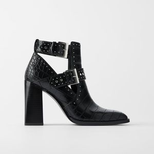 NWT Zara Black Leather Ankle Booties 7.5
